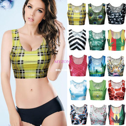Wholesale Top 15 Sexy Woman - Wholesale-New Fashion 15 Types European Sexy camisole Women's 3D Print crop tops suit top Short Vest Tank Tops Free Shipping B6 SV005602