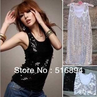 top popular Wholesale-Spring Women Glitter Sequins Sleeveless Tank Top 5 Colors Ladies vest sex retail +free shipping 2020