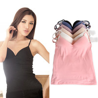 Wholesale Tops Built Bras - Wholesale-2015 New Built in Bra Tops 6 colors Padded Cozy Adjustable Strap Base Camisole Deep V-Neck wireless Bra Tank Tops size M L W1302