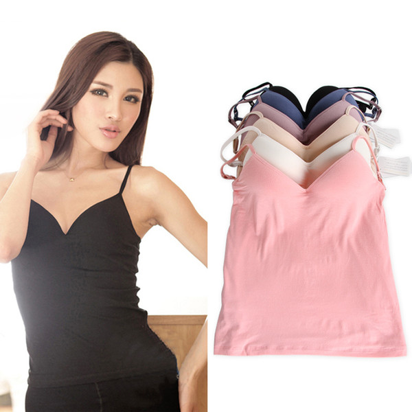best selling Wholesale-2015 New Built in Bra Tops 6 colors Padded Cozy Adjustable Strap Base Camisole Deep V-Neck wireless Bra Tank Tops size M L W1302
