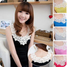 Wholesale Crochet Vests For Women - Wholesale-Nice Daisy Petals Lace tank Tops for women Lace Crochet Collar vest Korean Style patchwork Cotton Camisole Free shipping
