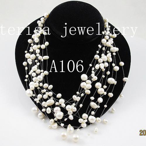 Nouveau Style A106 # Collier de perles Collier de couleur blanche 12Rows. Perles d'eau douce illusion collier bijoux de mariage à la main de dame de mode