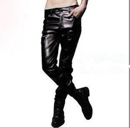 faux leather bootcut pants 2019 - mens leather pants tight fitting male slim leather pants fashion spring and autumn personality men clothing PU trousers