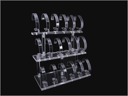 Wholesale Display Watch Holder Acrylic - Wholesale Free shipping 18 SL1OTS DESK SHELF CLEAR ACRYLIC WRIST WATCH RETAIL DISPLAY RACK HOLDER STAND