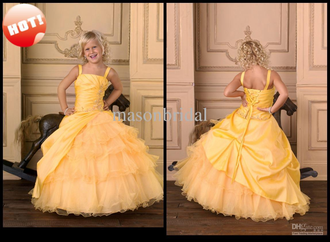 Hot lovely yellow flower girl dresses ball gown thick straps floor hot lovely yellow flower girl dresses ball gown thick straps floor length delicate beaded bridal flower girl dresses black and white flower girl dresses for mightylinksfo