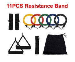Wholesale Tube Band Resistance Set - Wholesale-So hot 11Pcs Set Fitness Resistance Bands Exercise Tubes Practical Elastic Training Rope Yoga Pull Rope Pilates Workout Cordages
