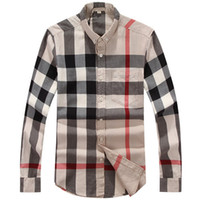 Wholesale Check Shirt Fashion Men - Wholesale-Very Top Quality New Big Checked Men Shirt Top Fashion Men Business Top 7 Colors 5 Sizes Free Shipping S-2XL