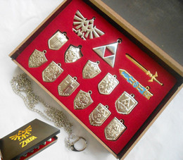 Wholesale Pc Times - Wholesale-14 pcs set The Legend of Zelda Logo shield kyward sword Necklaces ocarina of time cosplay keychains free shipping