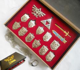 Wholesale Wholesale Wood Swords - Wholesale-14 pcs set The Legend of Zelda Logo shield kyward sword Necklaces ocarina of time cosplay keychains free shipping