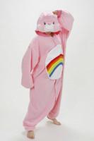 Wholesale Pink Care Bear Costume - Designer Cartoon Anime Animal RAINBOW BEAR Care Bears Pink Adult Unisex Onesie Cosplay Pajamas Winter Party Costumes