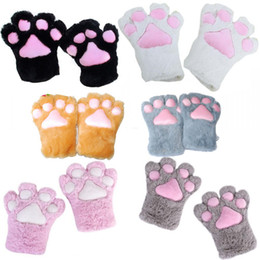 Wholesale Halloween Wigs Costumes - Wholesale-5 Colors Cute Plush Cat Kitten Paw Gloves Anime Cosplay Halloween Party Costume