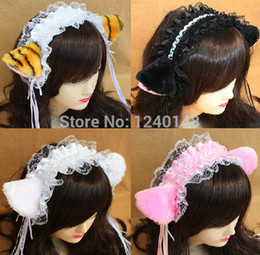 Wholesale Lace Cat Ears - Wholesale-1 pair anime Neko cosplay costume accessory Cat Neko Ears Party Lolita Headwear Hair Clip Bands Bow Bell Lace free shipping