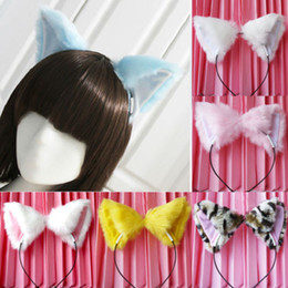 2017 mignonne fille cosplay Vente en gros-New Cute Cat Fox Ears Long Fur Headband Anime Cosplay Party Costume For Girls budget mignonne fille cosplay