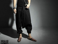 Wholesale Linen Cropped Pants - Wholesale-NEW Men Women Japanese Samurai Style Boho Casual Low Drop Crotch Loose Fit Harem Baggy Hakama Capri Cropped Linen Pants Trousers