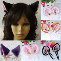 Wholesale Pink Cosplay Wig Long - Wholesale-Playful Anime Costume Cat Fox Ears Long Faux-Fur Hair Clip Pair Party Cosplay