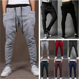 Wholesale Drop Crotch Joggers - Wholesale-Harem Pants New Style 8 Color Casual Skinny Sweatpants Sport Pants Trousers Drop Crotch Jogging Pants Men Joggers Sarouel