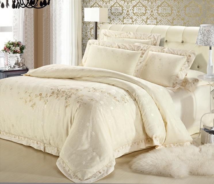 wholesale luxury white silver gold silk satin bedspreads embroidered bed in a bag jacquard. Black Bedroom Furniture Sets. Home Design Ideas