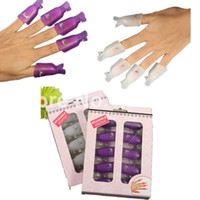 Wholesale nail art 3d gel - Wholesale-10pcs Plastic Acrylic Nail Art Soak Off UV Gel Nail Polish Remover Wrap Clip Cap Nails Nail Tools