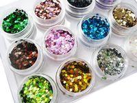 gel glitter 12 uv venda por atacado-Atacado-12 Nail Art Glitter formas redondas Confetti lantejoulas dicas de acrílico UV Gel