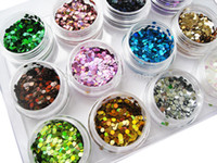 Wholesale-12 Nail Art Glitter ROUND Shapes Confetti Sequins Acrylic Tips UV Gel