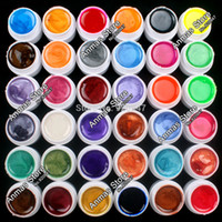 Wholesale Acrylic Pearls Gel - Wholesale-New 36 PCS Mix Colors Pearl UV Builder Gel Acrylic Nail Art Set for Nail Tips