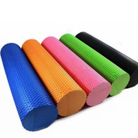 Wholesale Fitness Roller - Wholesale-2015 High Quality Eva Foam Yoga Roller With Massage Trigger Point Relief Muscular Fitness Yoga Rollers With 5 Color 30*15 P0077