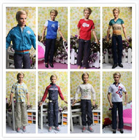 Wholesale Prince Ken Doll - Wholesale-Free Shipping Male Dolls Denim Clothing Sets for Prince Ken Clothes For Boyfriend Dolls Boy Nice Gifts Best Selling Wholesale