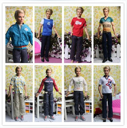 Wholesale Ken Doll Clothes Accessories - Wholesale-Free Shipping Male Dolls Denim Clothing Sets for Prince Ken Clothes For Boyfriend Dolls Boy Nice Gifts Best Selling Wholesale