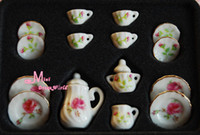 Wholesale-1/12 Scala Lotto di 15 Inghilterra Rose porcellana Dollhouse miniatura caffè tazza di tè set di mobili