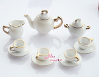 Atacado-Free Shipping! Branco porcelana China Coffee Tea tampa de panela Taças Set 11 PCS ~ 1/12 Escala Móveis Dollhouse Miniature