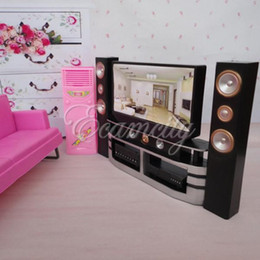 Wholesale Blythe House - Wholesale-Hi-Fi 1:6 TV Home Theater Cabinet Set Combo for Blythe for Barbie Dolls House Dollhouse Furniture