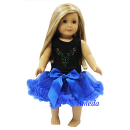 "Wholesale Girls Pettiskirt Tops - Wholesale-18"" American Girl Doll Black Tank Top Blue Pettiskirt Anna Costume Party Dress"