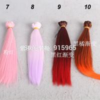 Wholesale Bjd Wig Mohair - Wholesale-2pieces lot Wig refires bjd hair mohair 20cm*100CM straight gradual change color wig hair for 1 3 1 4 BJD DIY