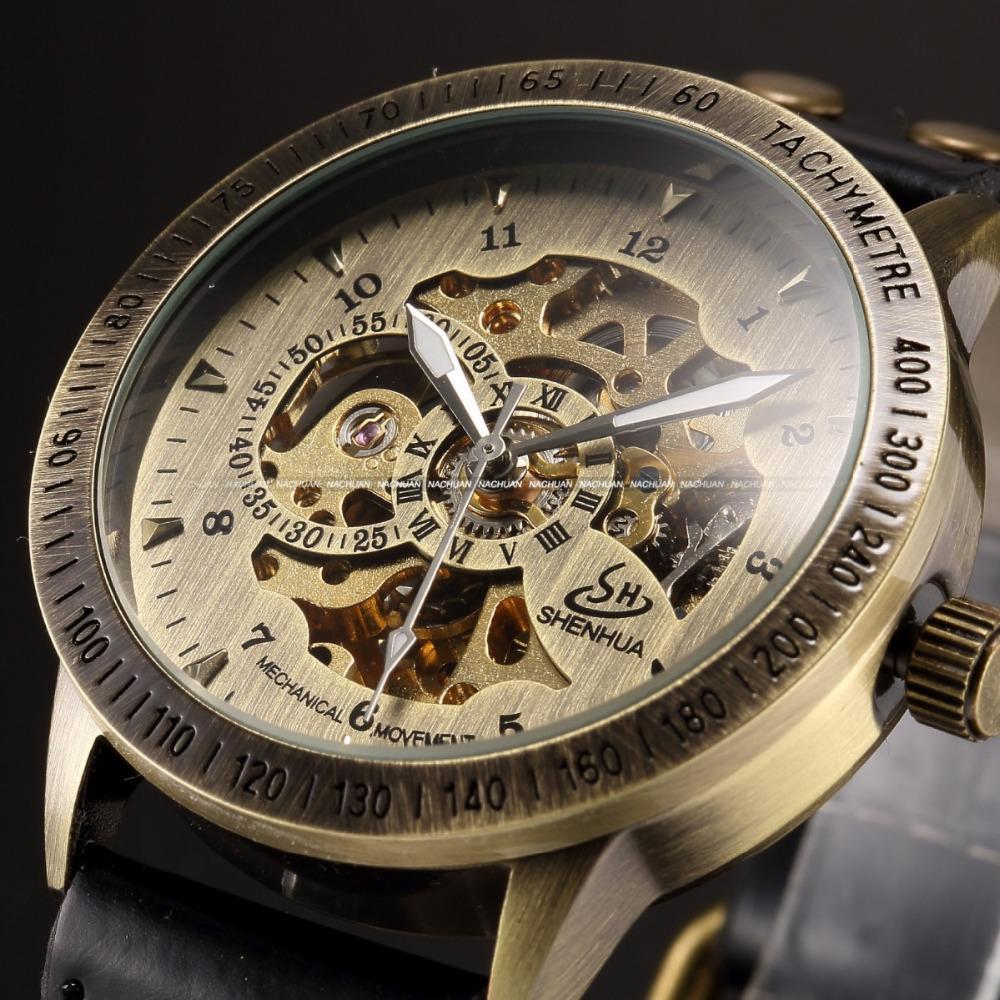 31420280328 Compre Atacado Vintage Bronze Men Relógios De Pulso Esqueleto Masculino  Relógio Pulseira De Couro Steampunk Relógios Casuais Relógio Mecânico  Automático ...