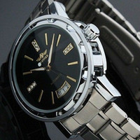 Wholesale Hk Calendar - Wholesale-SG post or HK post Men's Black Dial Strap Luxury Stainless Steel Self-Wind Up Mechanical Automatic Watch Free Shipping