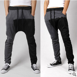 Barato Drop Pantalon-Atacado-Mens Sweatpants New Chegada: Moda Gota Crotch Pants Men Harem Pants Pantalon Basculadores Calça de Jogging Homens Calças Hip Hop
