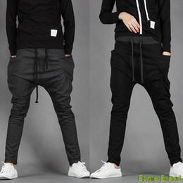 Wholesale Men S Drop Crotch Pants - Wholesale-Sarouel baggy tapered Elastic waist drop crotch hip hop dance harem sweatpants casual pants parkour sports trousers for men