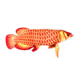 Большие длинные подушки онлайн-Wholesale-Gold Arowana 67CM Red Color plush big fish cartoon plush toys stuffed animals cushion toys for kids long pillow Christmas gifts