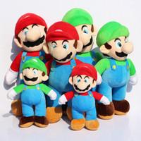 Wholesale Bears Plush Mario Bros - Wholesale-Super Mario Bros. Stand MARIO LUIGI Plush Toy Soft Stuffed Plush Toys Doll 3 Different Size Free Shipping 2pcs lot