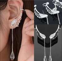 Wholesale Wing Top Ear Cuff - Wholesale-Top Quality Classic Perfect 925 Sterling Silver Earring Angel Wing Stylist Crystal Earrings Drop Dangle Ear Stud Cuff Clip~er623