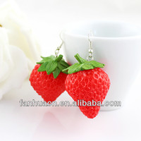 Wholesale Large Earrings For Cheap - Wholesale-Red Strawberry Drop Earrings Large bijoux femme for Women Cheap Costume Jewelry Silver Color Alloy Wholesale Brincos