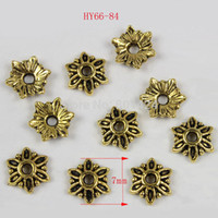Wholesale Gold Tone Jewelry Findings - Wholesale-Free Shipping 300pcs 66-84 antiquated Gold Tone Flower Bead Caps 7mm flower beads for diy jewelry finding