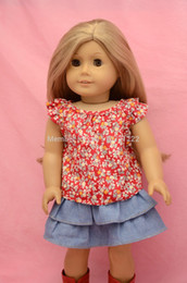 "Wholesale Boot Blouse - Wholesale-Doll Clothes fit 18"" American Girl Doll - t c blouse denim skirt ankle boots"