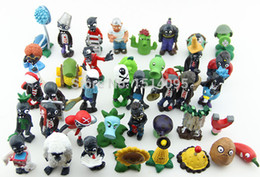 Wholesale Super Mario Action Figures Collection - Wholesale-40pcs set Plants vs Zombies PVC Action Figures 2.5-6.5cm PVZ Collection Figures Toys Gifts plant + zombies PZ015