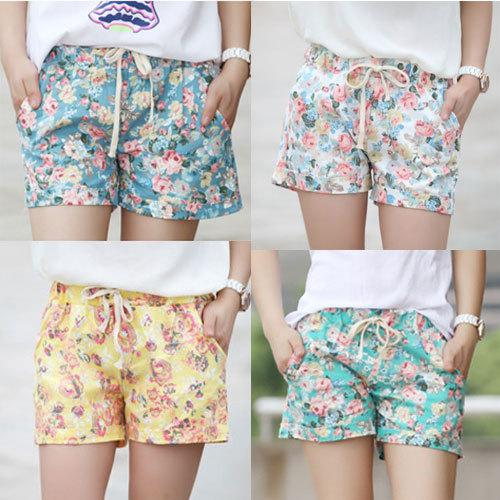 2017 Wholesale Girls Floral Shorts Women Flower Short Pants Female ...