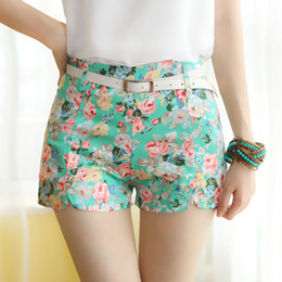 Wholesale Cute Skinny Belts - Wholesale-2015 Summer New Hot Sale Lady Shorts Six Colors Casual Woman Short Pants Female Cute Floral Print Shorts With Belt