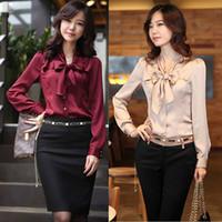 Wholesale Lady Blouse Red - Wholesale-Fashion Varabow Design Formal Wear 2015 New Office Lady Chiffon Blouse Size S-3XL Good Quality Charm Women Dress Shirt