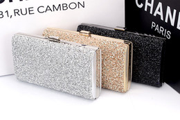 Wholesale Diamond Clutch Silver - Wholesale-Woman Evening bag Women Diamond Rhinestone Clutches Crystal Day Clutch Wallet Purse for Wedding Party Banquet Black Gold Silver