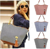 Wholesale Hobo Sling Handbag - Wholesale-P085 Women Ladies Tassel Canvas Chain Striped Shoulder Sling Bags Totes Handbag Hobo Satchel Purse Zip-up Casual Black Blue Red