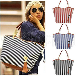 Wholesale P085 Women Ladies Tassel Canvas Chain Striped Shoulder Sling Bags Totes Handbag Hobo Satchel Purse Zip up Casual Black Blue Red